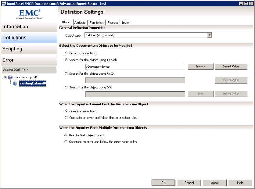Figure 21 Documentum Export Cabinet Configuration 3.5.4 Folders Right-click the cabinet node (called ExistingCabinet0 )