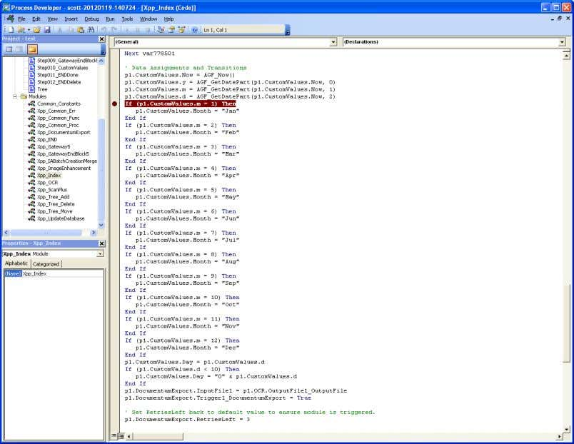 will have to return to CaptureFlow Designer to implement it. Figure 34 Debugging in Process Builder