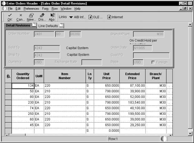 Sales Order Management 3. On Sales Order Detail Revisions, review the following fields and make any
