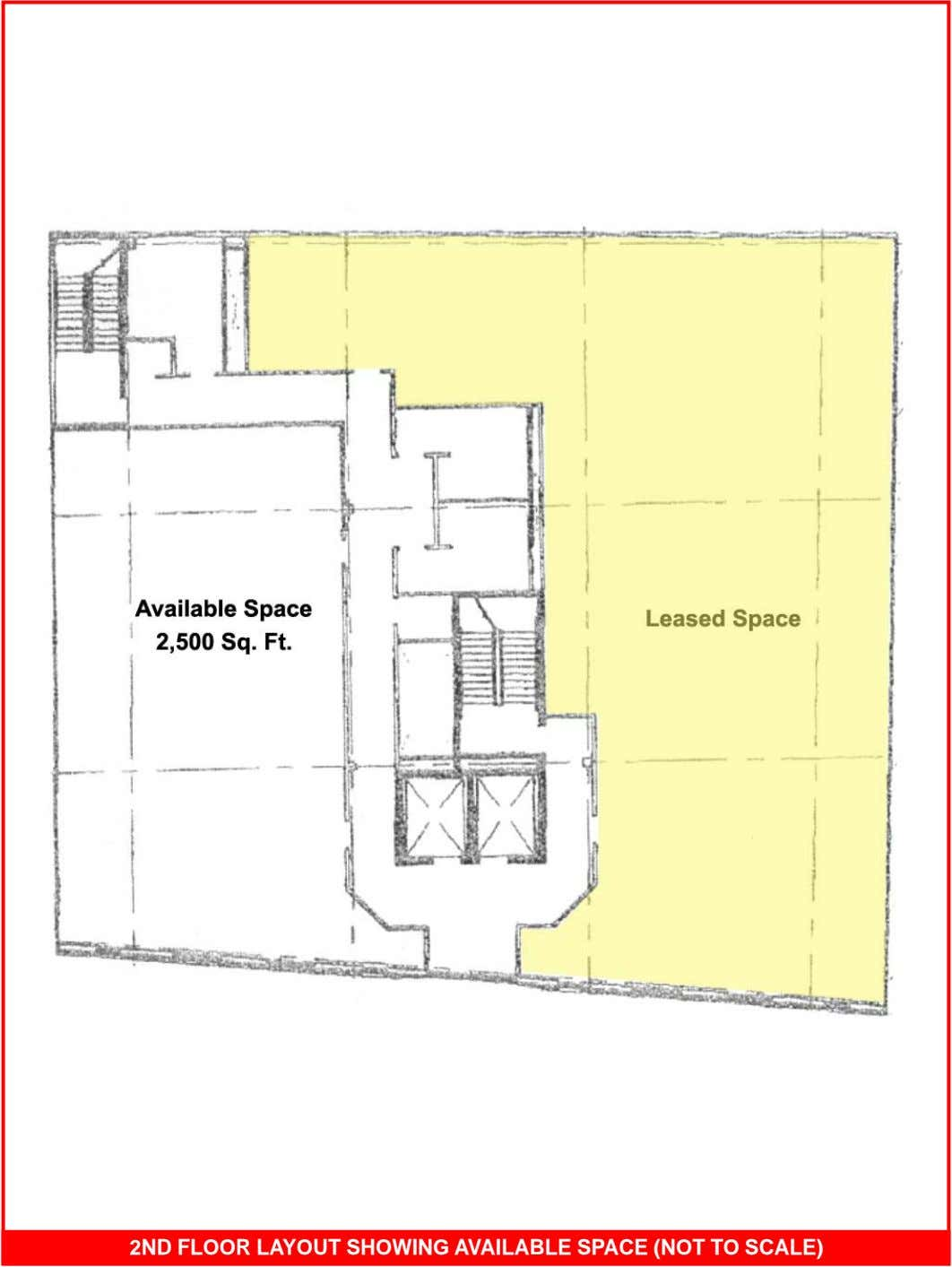 2ND FLOOR LAYOUT SHOWING AVAILABLE SPACE (NOT TO SCALE)