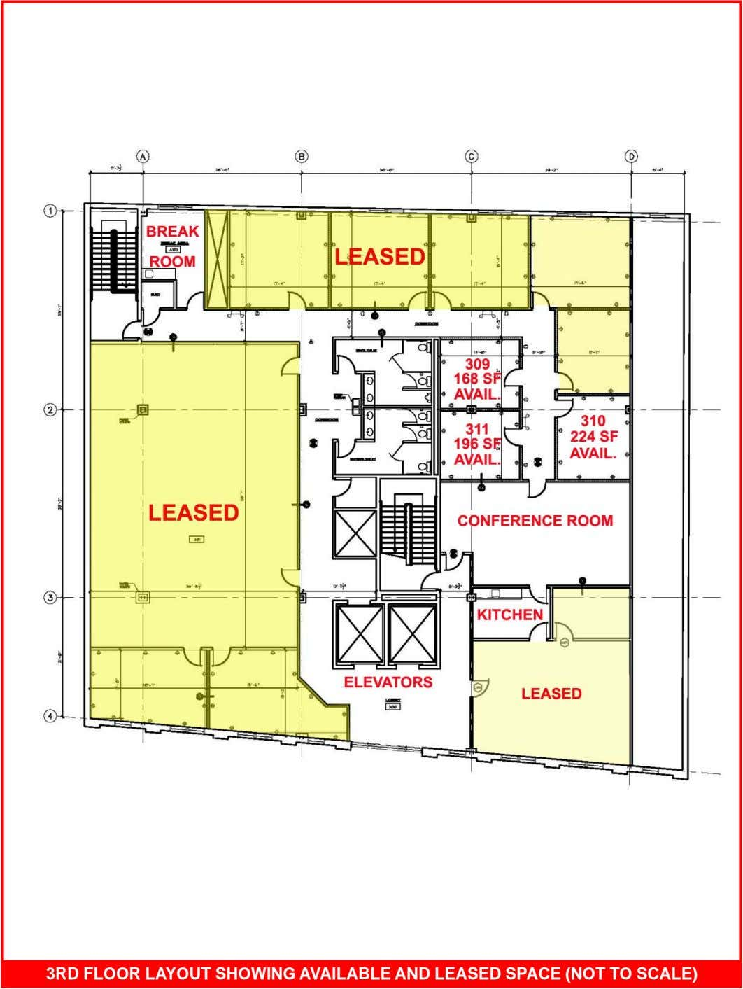 3RD FLOOR LAYOUT SHOWING AVAILABLE AND LEASED SPACE (NOT TO SCALE)