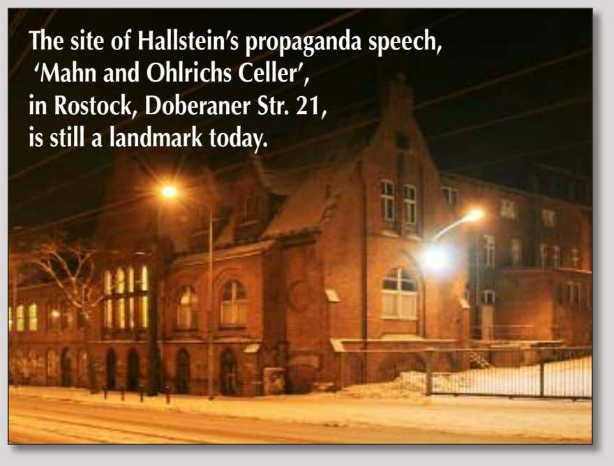 The site of Hallstein's propaganda speech, 'Mahn and Ohlrichs Celler', in Rostock, Doberaner Str. 21,