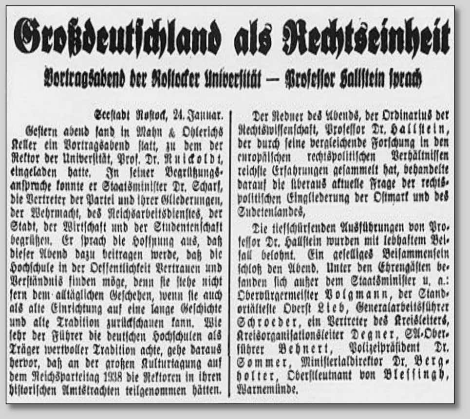 Facsimile of the original newspaper report about Hallstein's presentation entitled 'Greater Germany as Legal