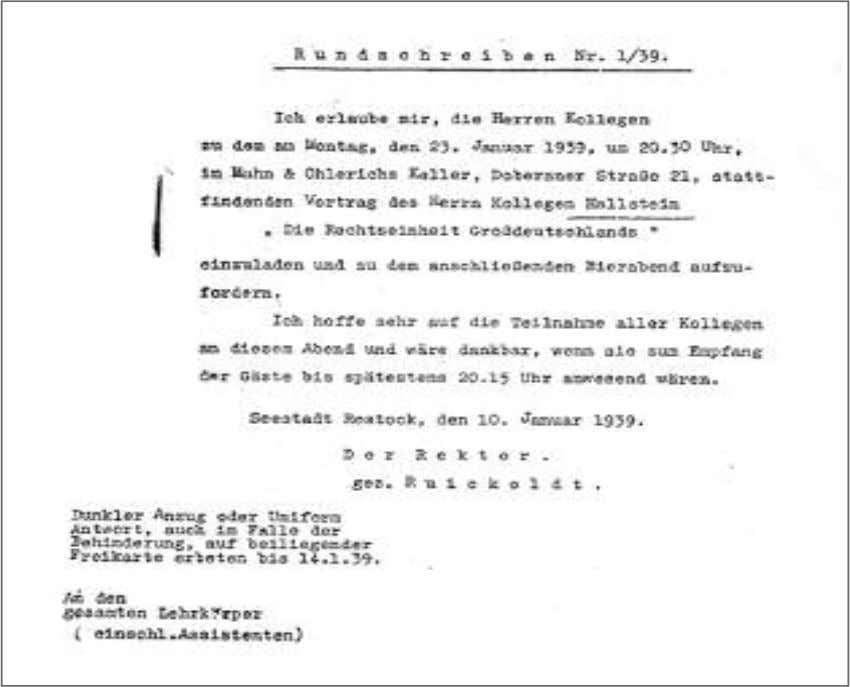 event organized by the university for the Nazi State. Circular No. 1/39 I am inviting the