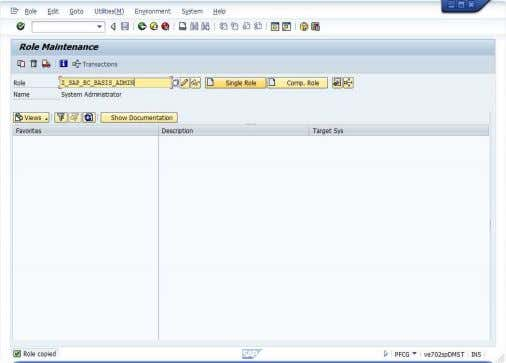 Copy All. 7. Click on Change to edit Z_SAP_BC_BASIS_ADMIN . 8. Select Authorization tab, click on