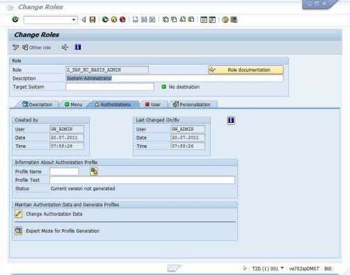 . 8. Select Authorization tab, click on the change button for Change Authorization Data. September 2011