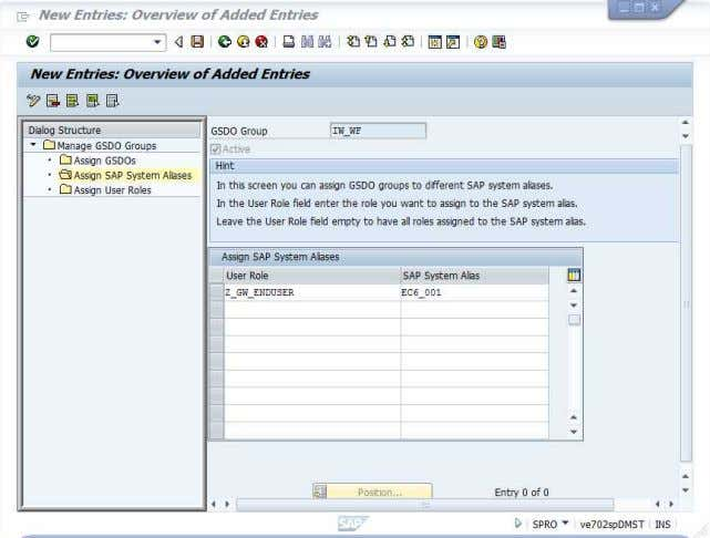 on SAP System Alias and choose EC6_001. Save the settings. 91. Double click on Manage GSDO