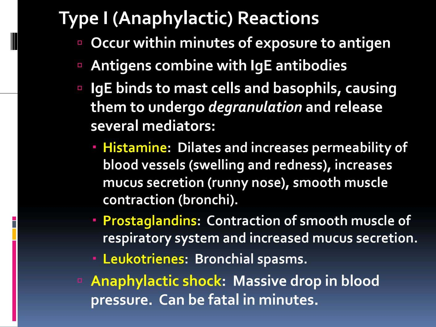 Type I (Anaphylactic) Reactions Occur within minutes of exposure to antigen Antigens combine with IgE