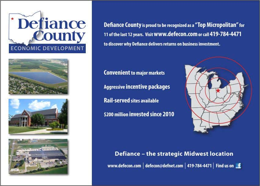 "Defiance Defiance County is proud to be recognized as a ""Top Micropolitan"" for County 11"