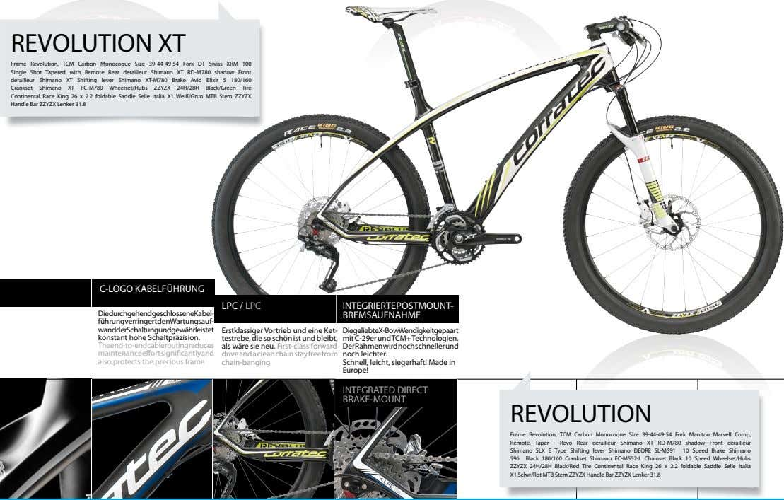 REVOLUTION XT Frame Revolution, TCM Carbon Monocoque Size 39-44-49-54 Fork DT Swiss XRM 100 Single