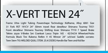 I X-VERT TEEN 24˝ Frame Ultra Light Tubing Powershape Technology Kidframe, Alloy 6061 Size 31