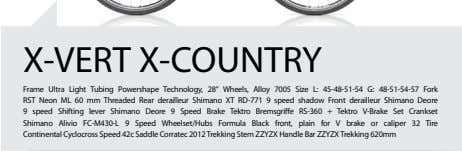 "X-VERT X-COUNTRY Frame Ultra Light Tubing Powershape Technology, 28"" Wheels, Alloy 7005 Size L: 45-48-51-54"