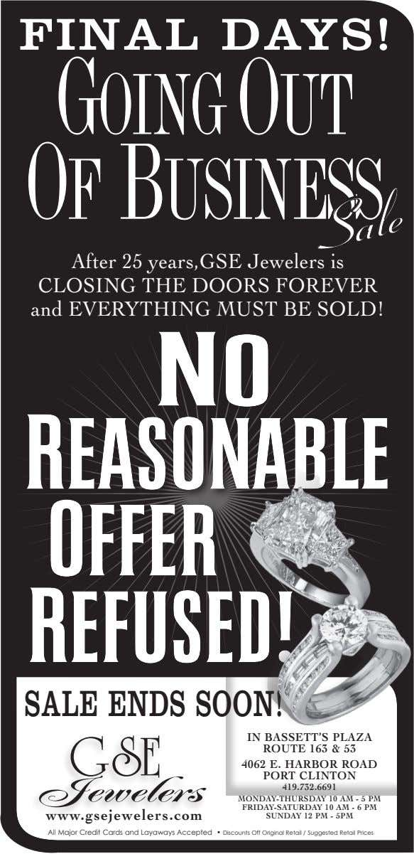 FINAL DAYS! After 25 years,GSE Jewelers is CLOSING THE DOORS FOREVER and EVERYTHING MUST BE