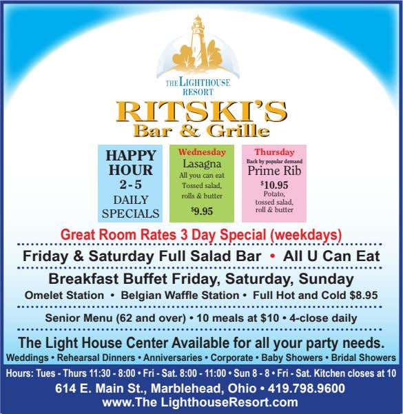 RITSKI'S Bar & Grille Wednesday Thursday HAPPY Lasagna Back by popular demand HOUR Prime Rib
