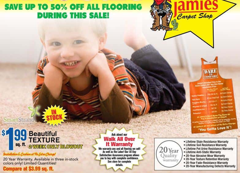 SAVE UP TO 50% OFF ALL FLOORING DURING THIS SALE! Box Home Jamie's Big Centers