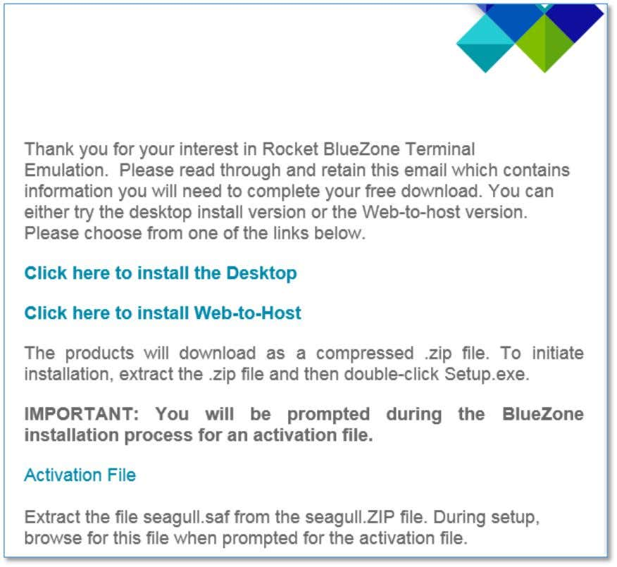 Fig 1: An example of the e-mail with download links send by BlueZone  Download
