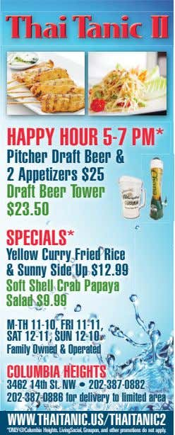 ThaiThaiThai TTTanicanicanic IIIIII HAPPY HOUR 5-7 PM* Pitcher Draft Beer & 2 Appetizers $25 Draft