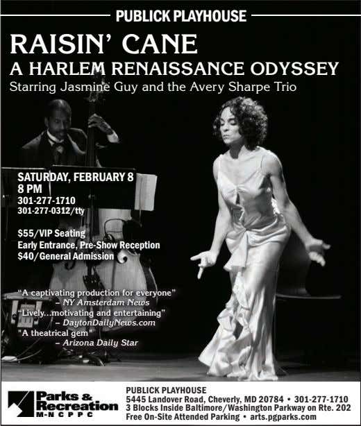 PubLICK PLayHOuSe Raisin' Cane a HaRlem RenaissanCe Odyssey Starring Jasmine Guy and the Avery Sharpe