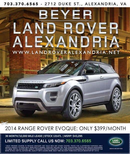 LAND ROVER ALEXANDRIA 2014 RANGE ROVER EVOQUE: ONLY $399/MONTH 36 MONTH/10,000 MILE LEASE | STOCK