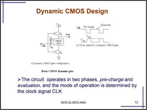 Dynamic CMOS Design The circuit operates in two phases, pre-charge and evaluation , and the
