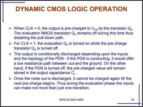 DYNAMIC CMOS LOGIC OPERATION When CLK = 0, the output is pre-charged to V DD