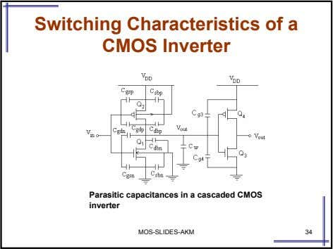 Switching Characteristics of a CMOS Inverter Parasitic capacitances in a cascaded CMOS inverter MOS-SLIDES-AKM 34