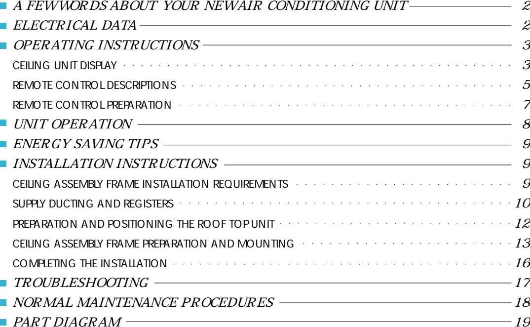 A FEW WORDS ABOUT YOUR NEW AIR CONDITIONING UNIT 2 ELECTRICAL DATA 2 OPERATING INSTRUCTIONS