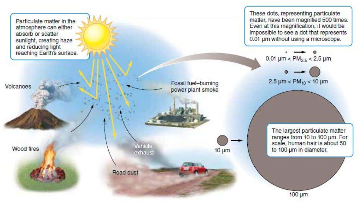 Particulate matter can be natural or anthropogenic. It ranges considerably in size and can absorb