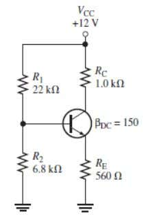the bias circuit and applying Kirchhoff's voltage law to the base-emitter circuit, DC equivalent circuit of