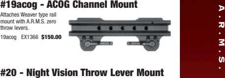 A.R.M.S. #19acog - ACOG Channel Mount Attaches Weaver type rail mount with A.R.M.S. zero throw