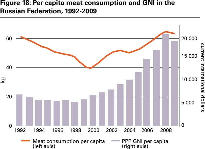 Figure 18: Per capita meat consumption and GNI in the Russian Federation, 1992-2009 current international