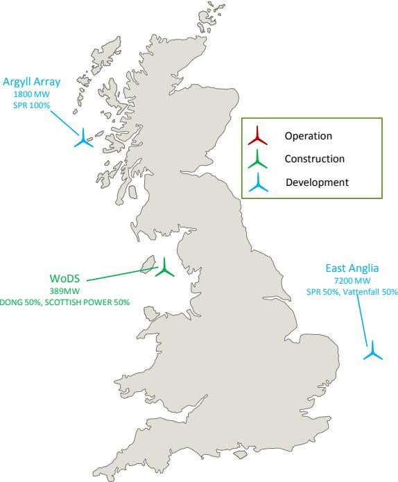 Argyll Array 1800 MW SPR 100% Operation Construction Development East Anglia WoDS 389MW 7200 MW