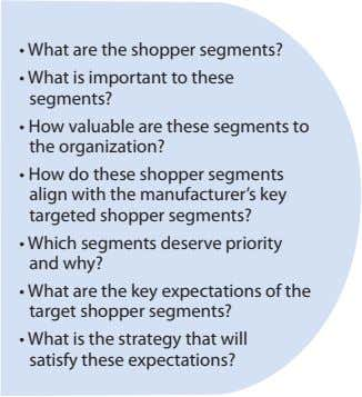 • What are the shopper segments? • What is important to these segments? • How