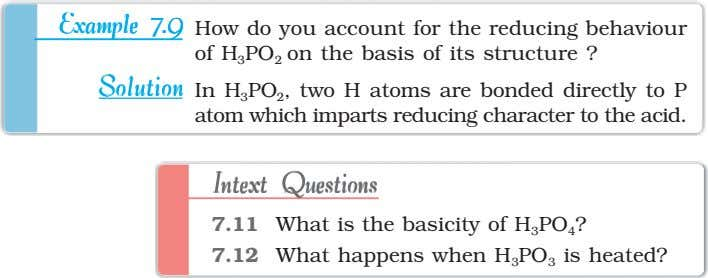 ExampleExampleExampleExampleExample 7.97.97.97.97.9 How do you account for the reducing behaviour of H 3 PO 2