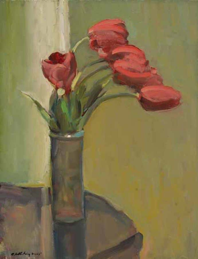 "ArTIsT ProfIlE Red Tulips, 18 x 14"", painted in 2005, oil on canvas 24 Arts &"