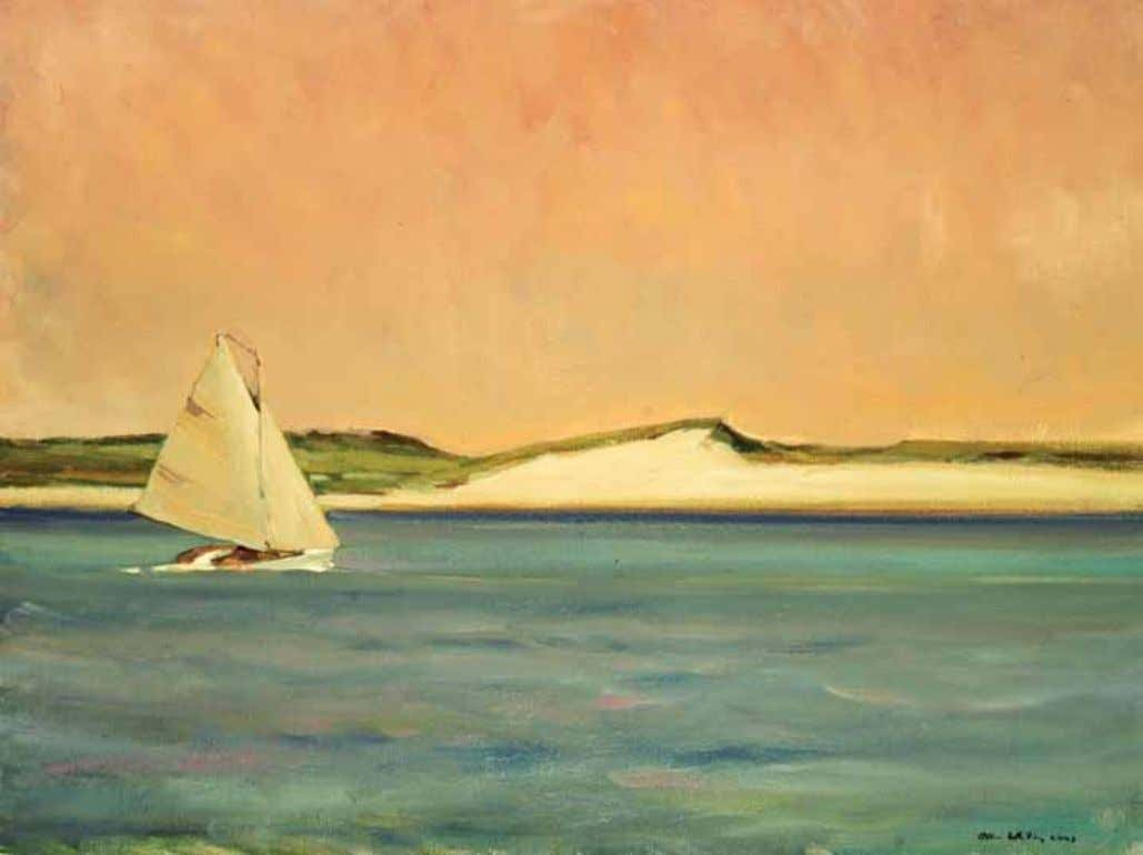 "Allen Whiting Sailboat – Menemsha Pond , 24 x 30"", painted in 2003, oil on canvas"