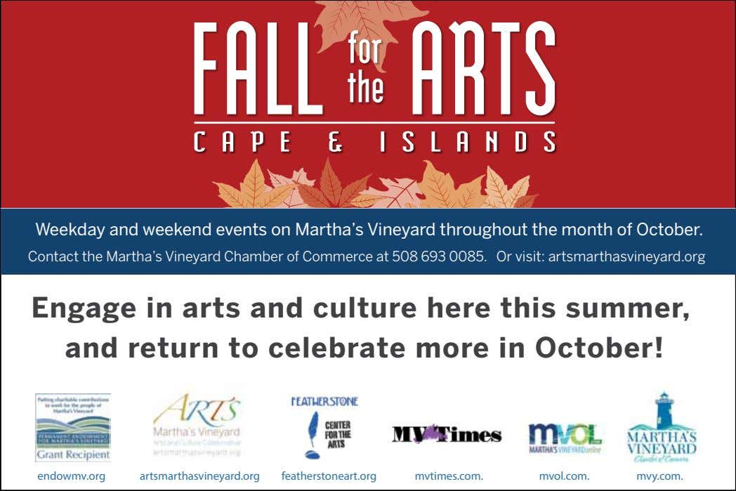 Weekday and weekend events on Martha's Vineyard throughout the month of October. Contact the Martha's