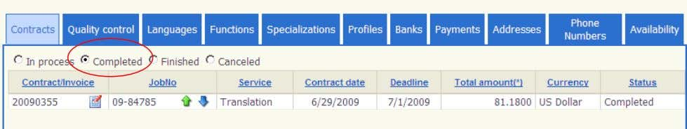 "under completed docume nts of the ""Contracts"" tab: Checking the Status of Your Payments Once your"