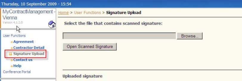 "signature, please click on the ""Signature Upload"" link: Please prepare a file containing your signature. We"