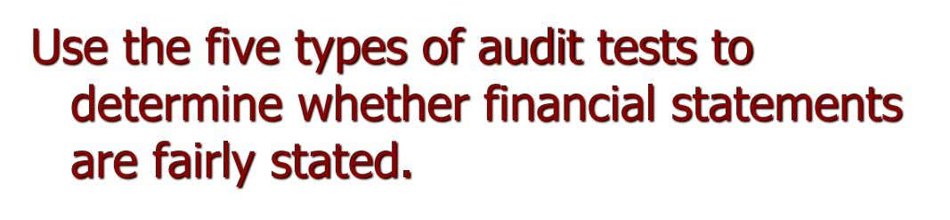 Use the five types of audit tests to determine whether financial statements are fairly stated.