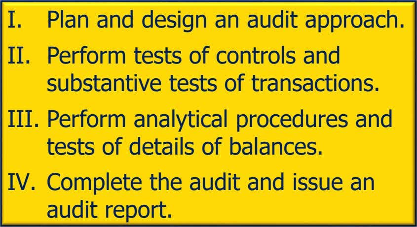 I. Plan and design an audit approach. II. Perform tests of controls and substantive tests of