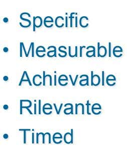 •   Specific •   Measurable •   Achievable •   Rilevante •   Timed
