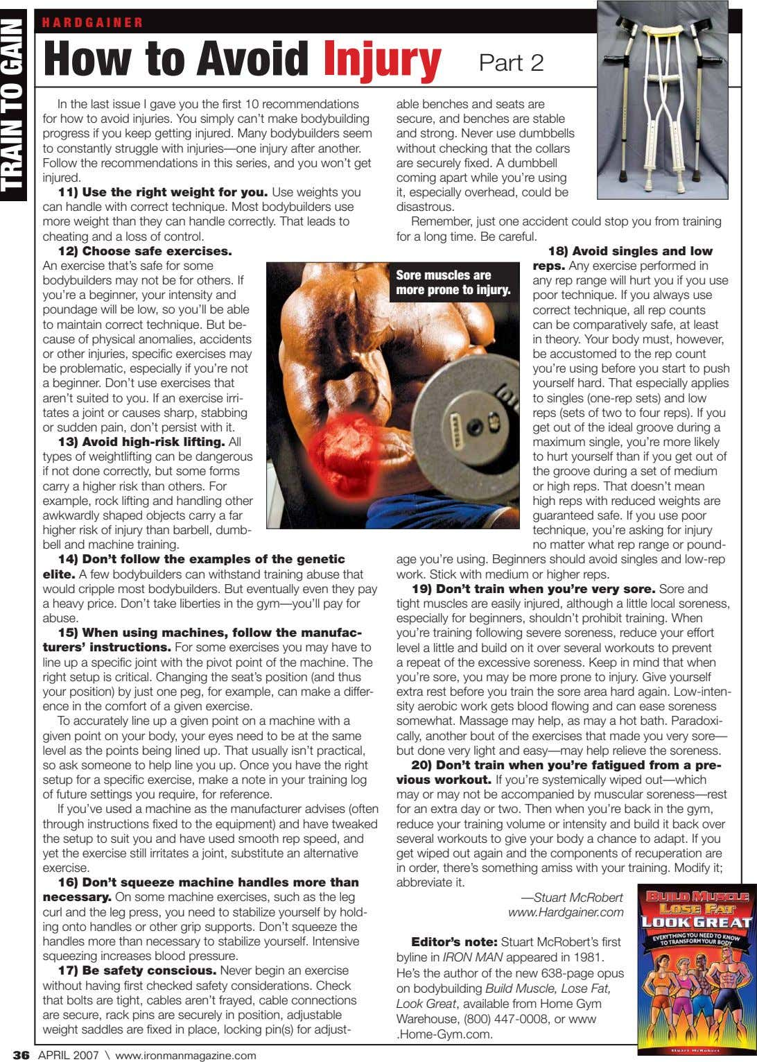 HARDGAINER How to Avoid Injury Part 2 In the last issue I gave you the