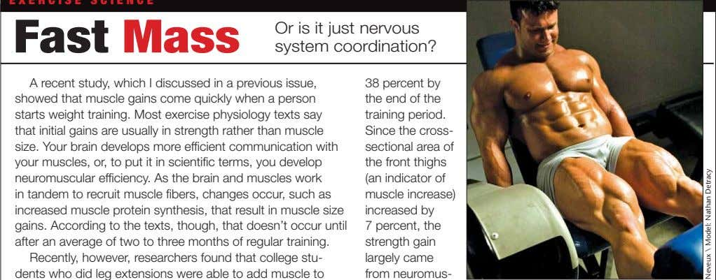 Fast Mass Or is it just nervous system coordination? A recent study, which I discussed