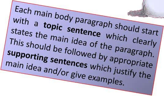 4* opposing viewpoint and reasons/examples Conclusion TIP Final Paragraph Restate your opinion, using different words