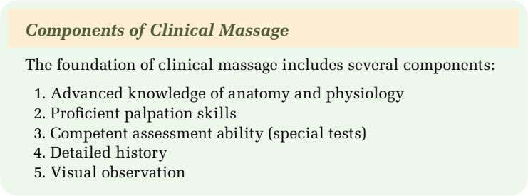 Components of Clinical Massage The foundation of clinical massage includes several components: 1. Advanced knowledge
