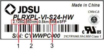 the following figure. Figure 2-6 Label on an optical module (1) Rate (2) Wavelength Optical Module