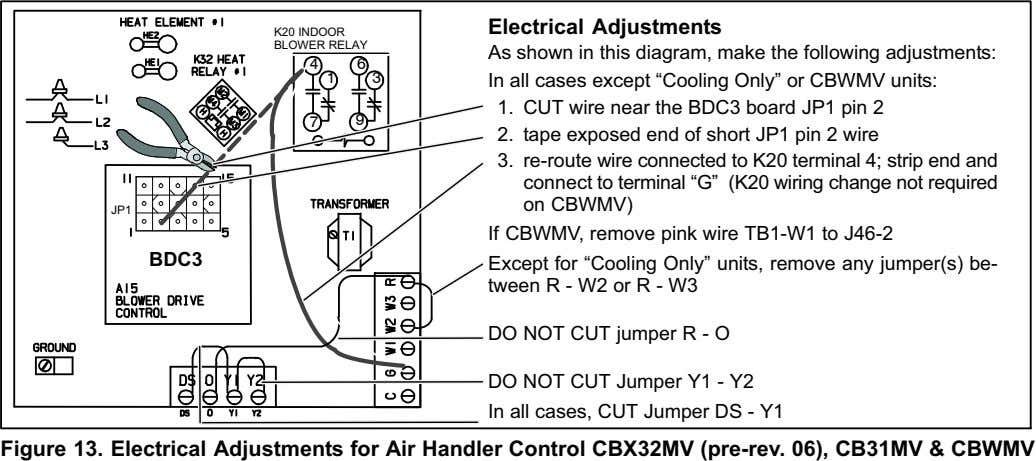 Electrical Adjustments K20 INDOOR BLOWER RELAY As shown in this diagram, make the following adjustments: