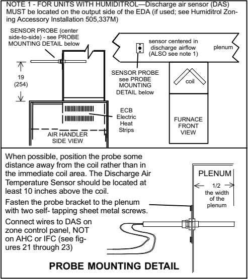 NOTE 1 − FOR UNITS WITH HUMIDITROL Discharge air sensor (DAS) MUST be located on