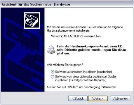 device is detected on the PC Select automatic installation 2.6 • • Figure 7: Driver installation